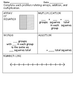 Array, Addition, and Multiplication Problems