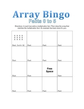 Array Bingo Facts 0 to 5