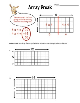 Array Break Multiplication (worksheet) By Mr Readys Class Tpt Distributive Property With Arrays Worksheet Array Break Multiplication (worksheet)