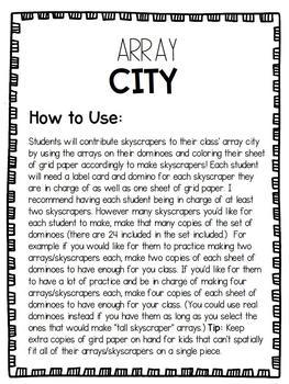 Array City Class Collaboration- Math Activity & Bulletin Board Display