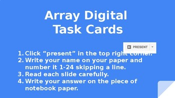 Array Digital Task Cards