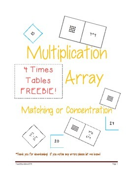 Array Fact and Product Matching Master Multiplication Facts!  FREEBIE!