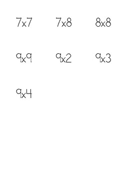 Array Math Center Cards