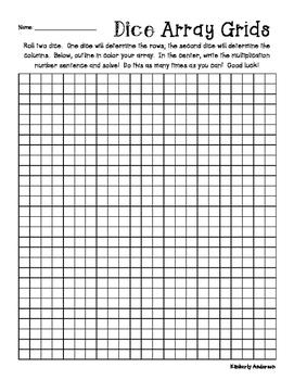 Arrays Multiplication Practice: Dice Activity - Grid Paper