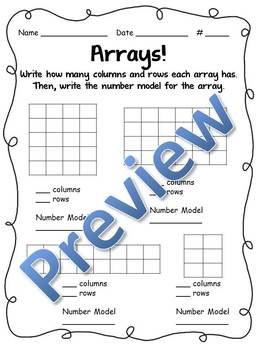Array Practice with Columns, Rows, and Number Models