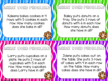 Array & Repeated Addition Word Problem Task Cards