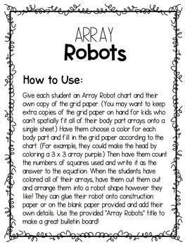 Array Robots- Math Activity & Bulletin Board Display