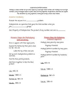 Array/ Standard Algorithm 4X 1 Multiplication Notes