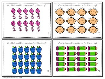Array Task Cards (Addition and Multiplication) by Second Grade Sweets