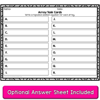 Array Task Cards (Valentine)