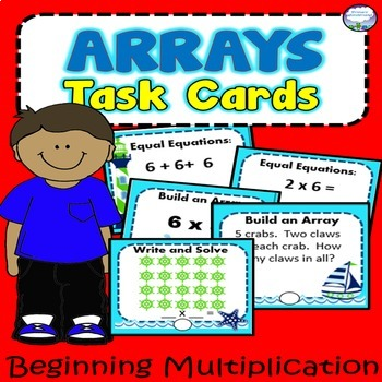 90 Multiplication Array Task Cards with Recording Sheet OCEAN THEME