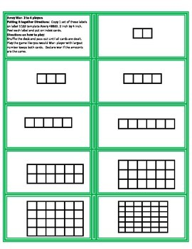 Array War Game with arrays, multiplication facts, and numbers