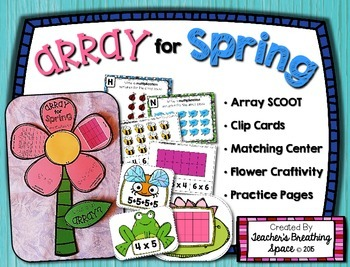 Array for Spring --- Array Scoot, Clip Cards, Matching Center and Craftivity