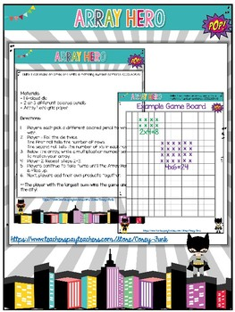 Array hero Multplication Number Sentence Game 3rd grade Common Core Aligned