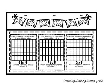 repeated addition arrays worksheets by teaching second grade tpt. Black Bedroom Furniture Sets. Home Design Ideas
