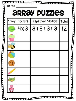 Arrays Arrays Arrays! by Miss Giraffe | Teachers Pay Teachers