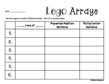Arrays Multiplication Practice: Lego Activity