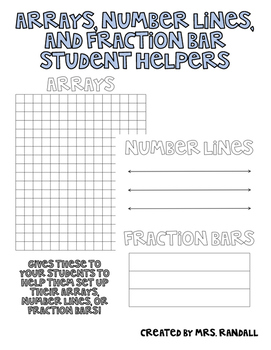 Arrays, Number Lines, and Fraction Bars Student Helpers