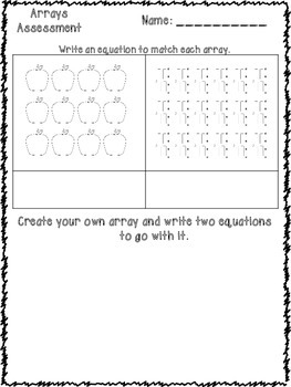 Arrays Repeated Addition Assessment {FREEBIE}