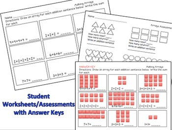 Arrays - Repeated Addition Task Cards Common Core Aligned