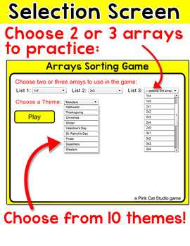 Arrays Sorting Game for Smartboards and Computers