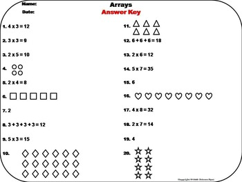 Arrays Task Cards 1st 2nd 3rd Grade Repeated Addition Activity