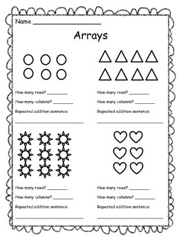 Arrays Worksheet - Free by The Clever Teacher | Teachers Pay Teachers