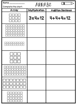 arrays worksheets by dana 39 s wonderland teachers pay teachers. Black Bedroom Furniture Sets. Home Design Ideas