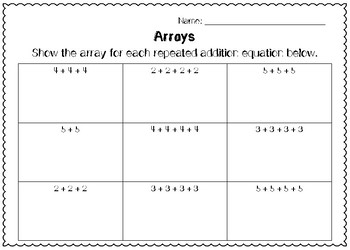 Arrays Worksheets