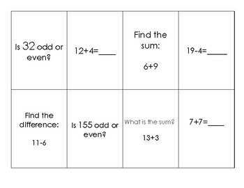 Arrays, add and subtract within 20, even and odd review cards
