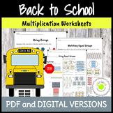 Arrays and Equal Groups Multiplication Worksheets - Back t