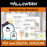 Arrays and Equal Groups Multiplication Worksheets - Halloween Theme