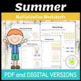 Arrays and Equal Groups Multiplication Worksheets - Summer Theme