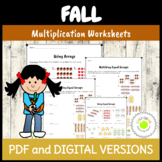 Arrays and Equal Groups Multiplication Worksheets - Fall Theme