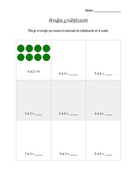 Arrays and Multiplication Spanish