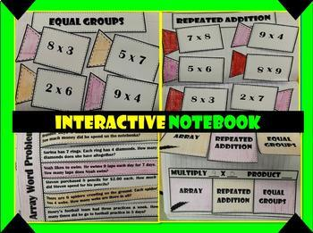 Arrays and Multiplication Interactive Notebook and Worksheets