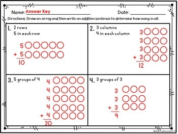 Arrays of Equal Groups: 2.OA.C.4 Common Core Math