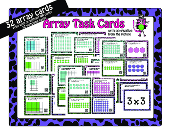 Multiplication Arrays with or without QR: includes optional matching cards