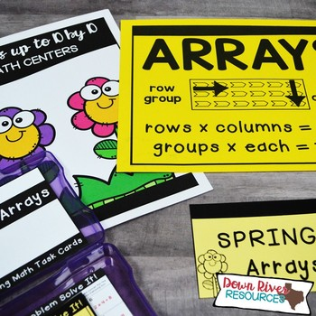Arrays up to 10 by 10 to Represent Multiplication Facts | Spring Math Task Cards