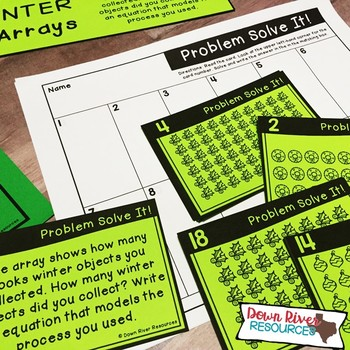 Arrays up to 10 by 10 to Represent Multiplication Facts   Winter Math Task Cards