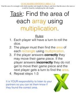 Arrays/Multiplication/Area Board Game