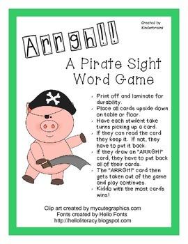 Arrgh! A Pirate Sight Word Game