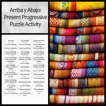 Arriba y Abajo Activity to Practice Present Progressive and Chore Vocabulary