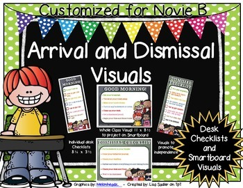 Arrival and Dismissal Routine Visuals Customized for Novie B