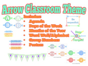 Arrow Classroom Theme - Alphabet, Group Numbers, Agenda