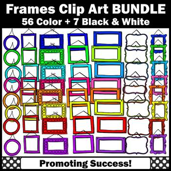 Picture Frames Clip Art BUNDLE for Commercial Use Colorful Frame Clipart SPS