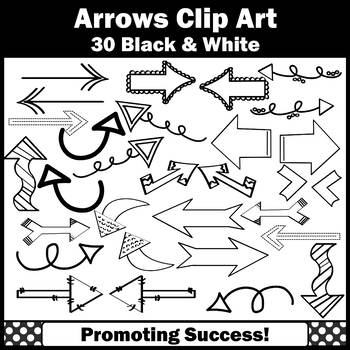 Arrow Clip Art for Newsletters, Arrows Theme Clipart, Black and White SPS