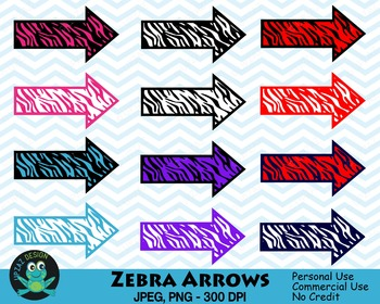 Zebra Pattern Arrows (Upzaz Digital Clipart)