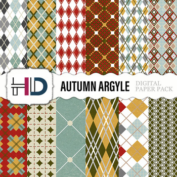 12 Autumn Argyle Digital Background Papers in brown, green, red, and blue
