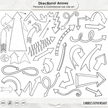 Arrow Line Art and Silhouettes, Black and White Arrow Clip Art Doodles